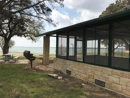 View of Waco Lake from screen shelter