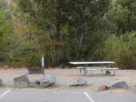 Parking spot, picnic table and fire ring at Roza Campsite #2Roza Campsite 2