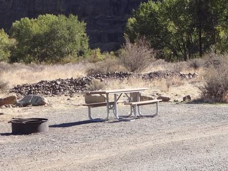 Parking spot, picnic table and fire ring at Umtanum Campsite #3Umtanum #3