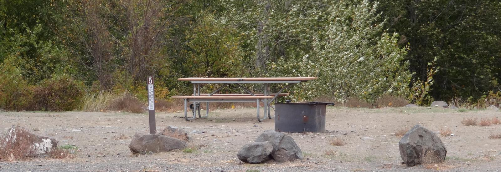Parking spot, picnic table and fire ring at Roza Campsite #5Roza campsite #5