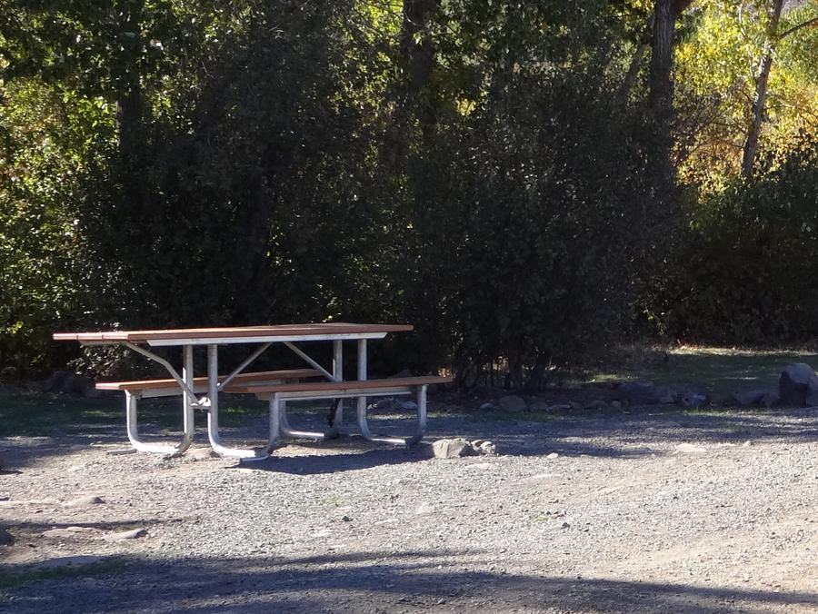Parking spot, picnic table and fire ring at Umtanum Campsite #5Umtanum campsite #5