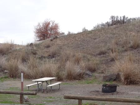 Parking spot and fire ring at Lmuma Creek Campsite #7