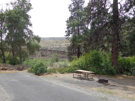 Parking pad, picnic table and fire ring at Big Pines Campsite #9