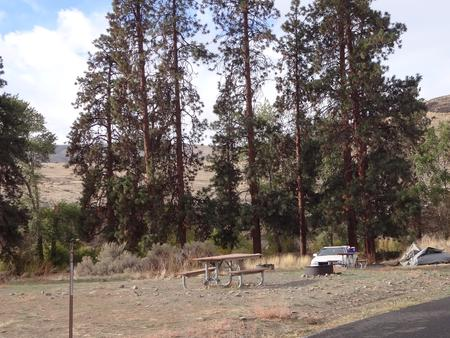 Parking pad, picnic table and fire ring at Big Pines Campsite #33