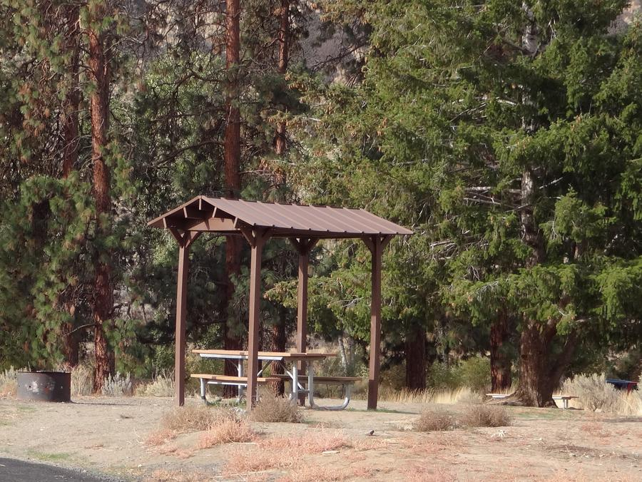 Parking pad, covered picnic table and fire ring at Big Pines Campsite #37