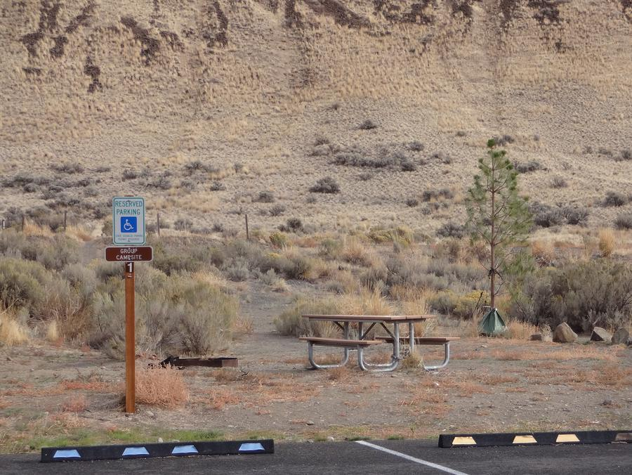 2 parking spots, picnic table and fire ring at Big Pines Group Campsite #DBig Pines Group campsite #D