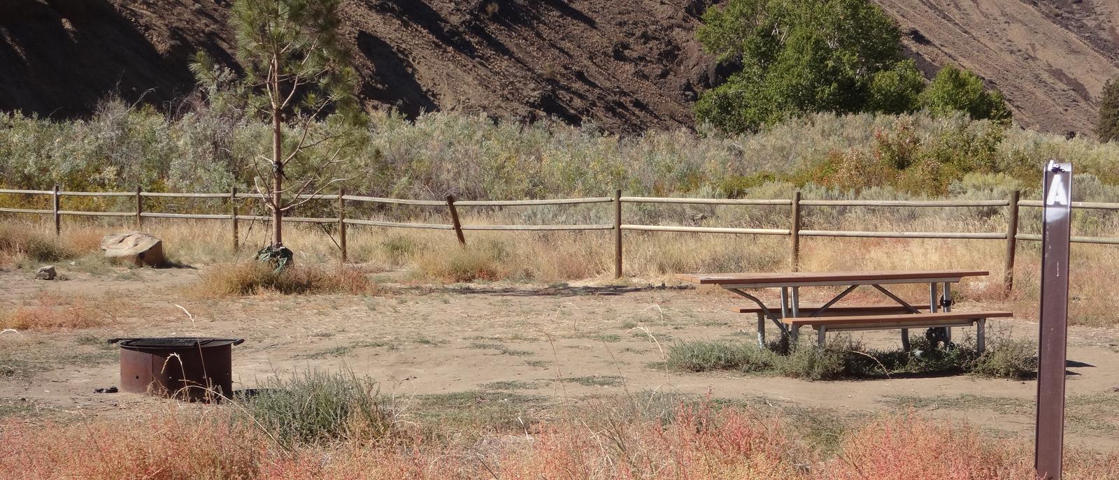 Picnic table and fire ring at Big Pines Walk-in Campsite #ABig Pines walk-in campsite #A