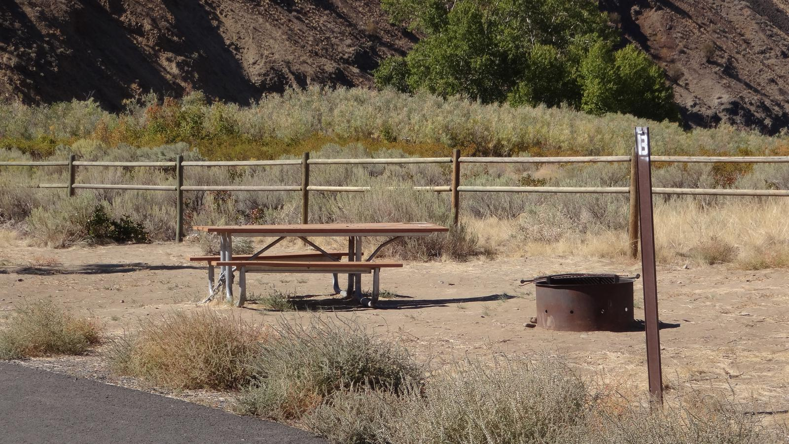 Picnic table, paved trail and fire ring at Big Pines Walk-in Campsite #BBig Pines walk-in campsite #B