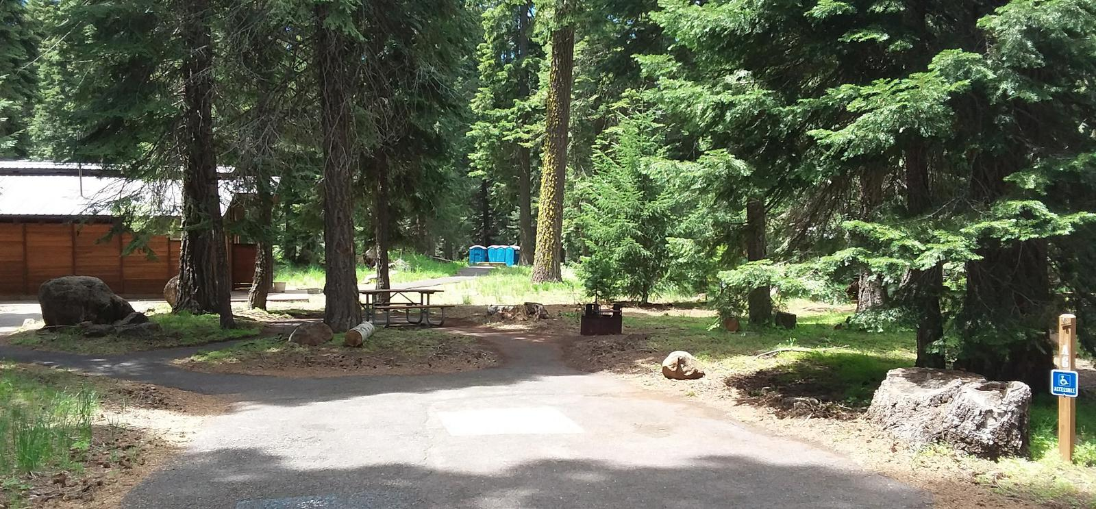 View of Site 6 Accessible Parking PadAccessible Campsite 6, Loop A Hyatt Lake