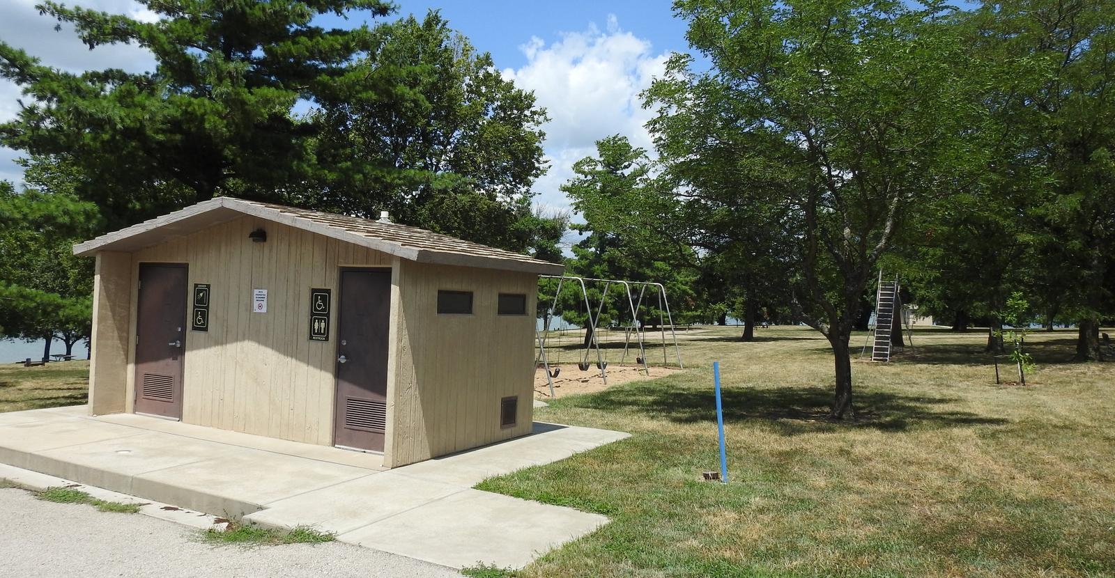 Restroom and playground in Arrow Rock Campground