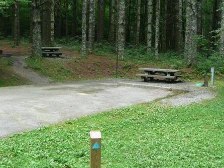 Stony Fork CampgroundSite has two picnic areas, one with a slight grade