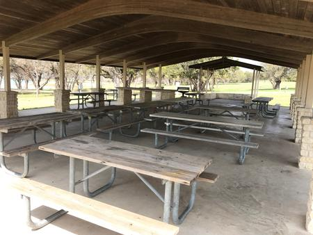 Picnic tables under the pavilion