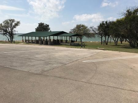 RV  hookup area and Group Shelter with Waco Lake in background