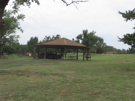 View of group picnic shelter