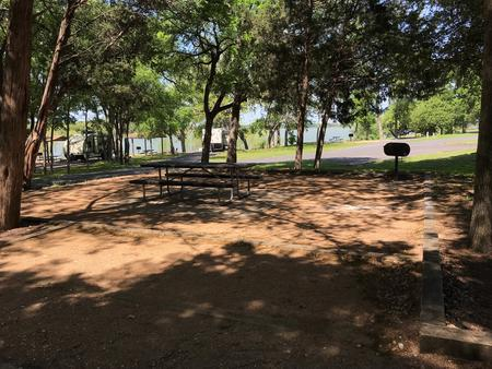 Picnic table and grill at site