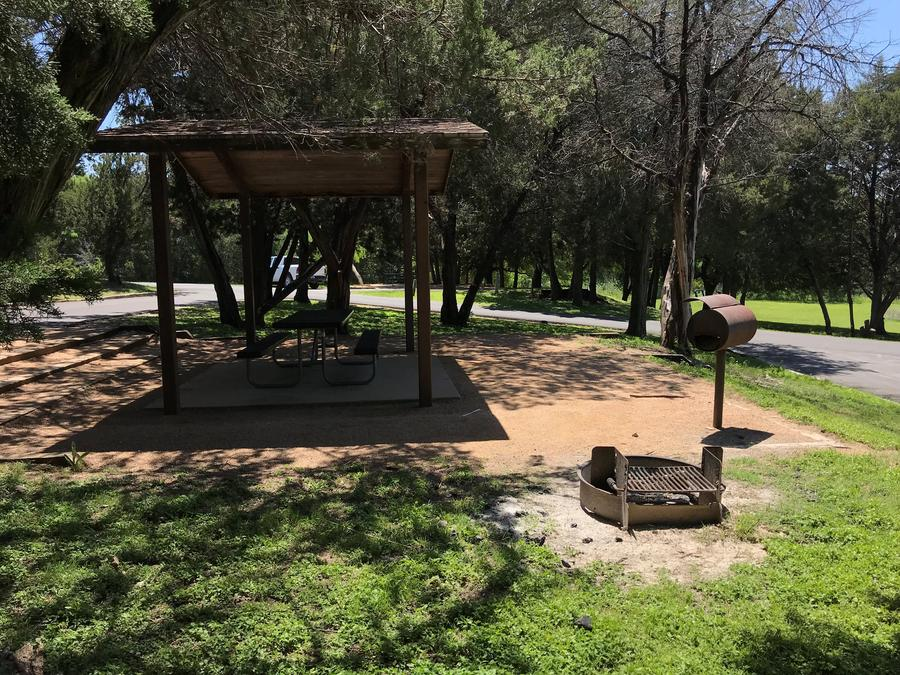Covered picnic table, grill, and fire ring at site