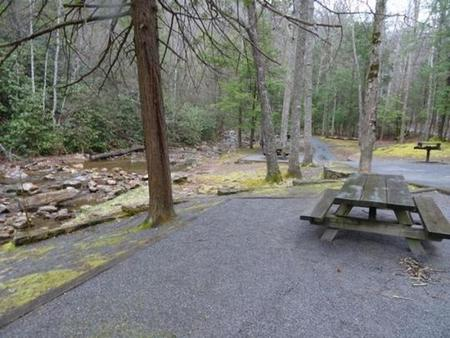 Picnic tables next to Horse Creek