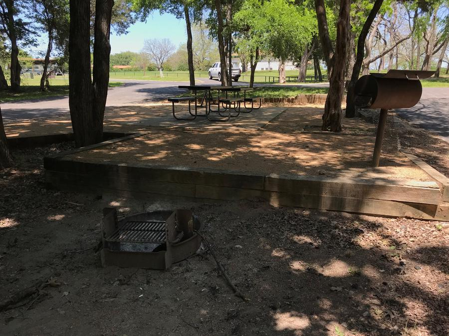 Picnic tables, grill, and fire ring