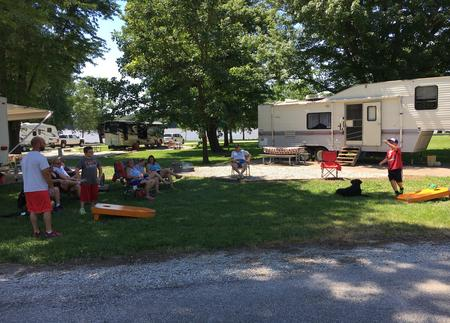 Long view Baggo Game at campsite.