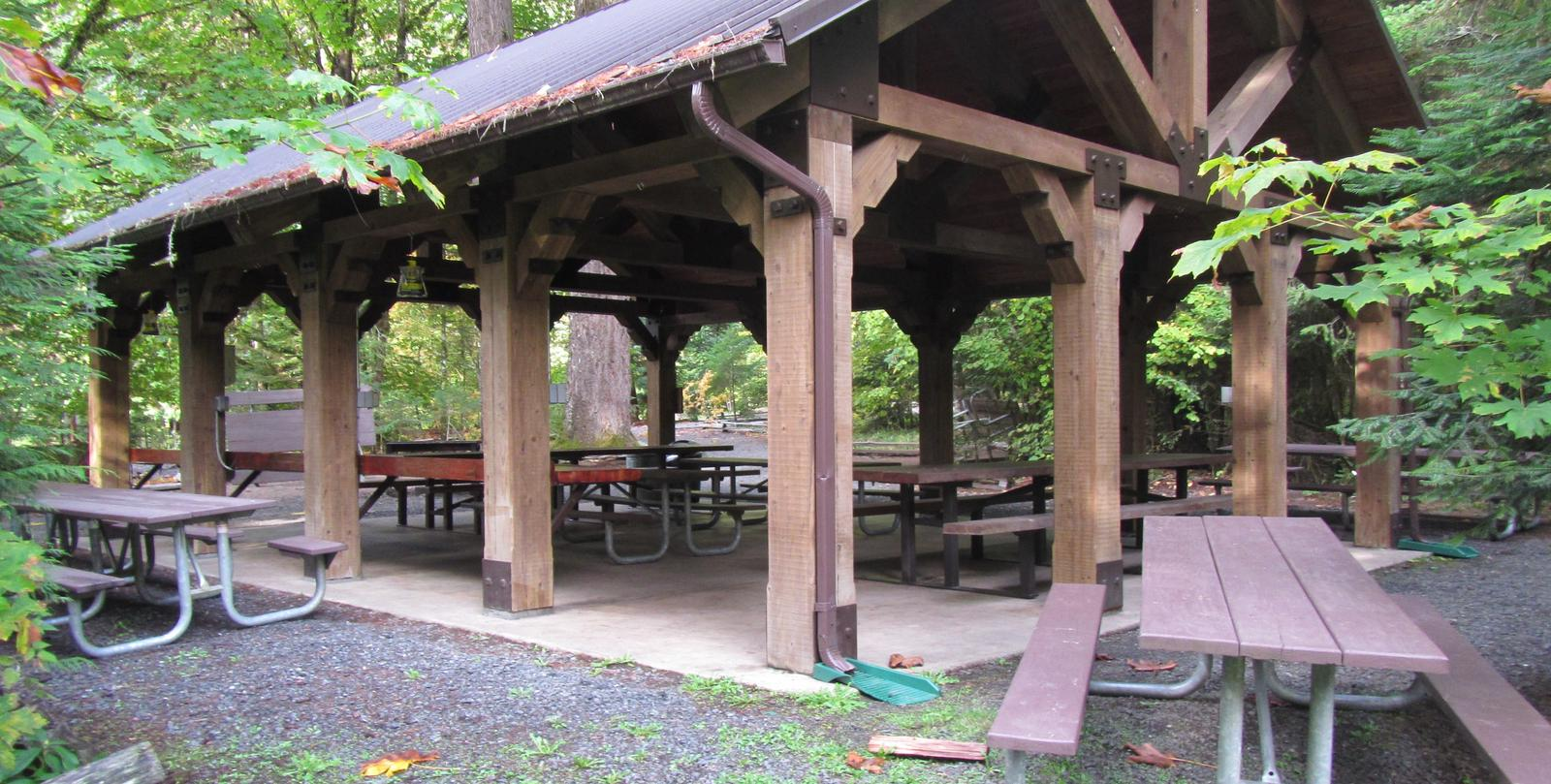 Large pavilion with picnic tables