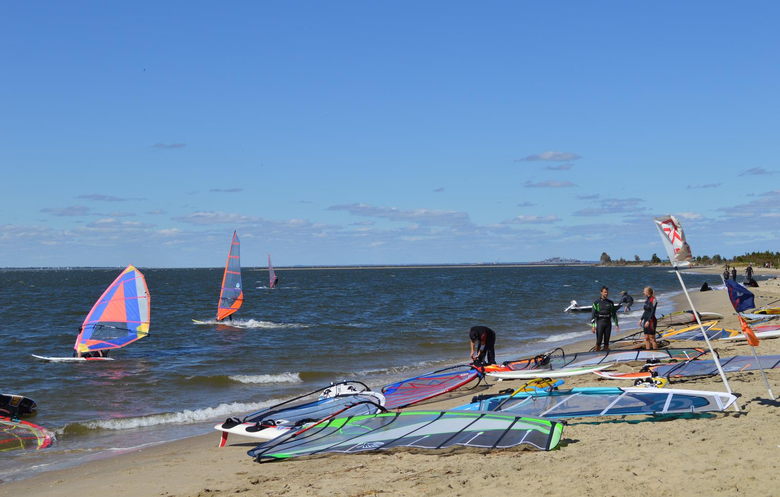 Windsurfers at bayside beaches