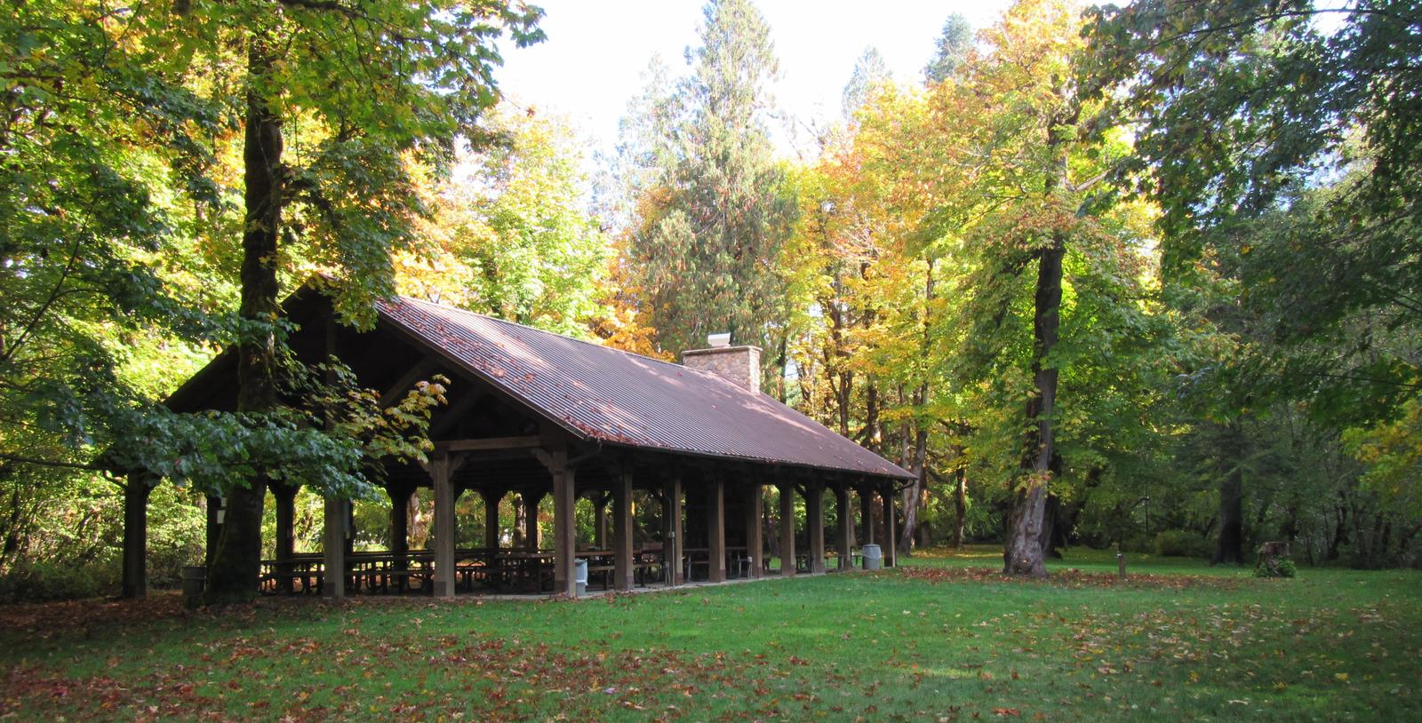 Large pavilion with surrounding open space
