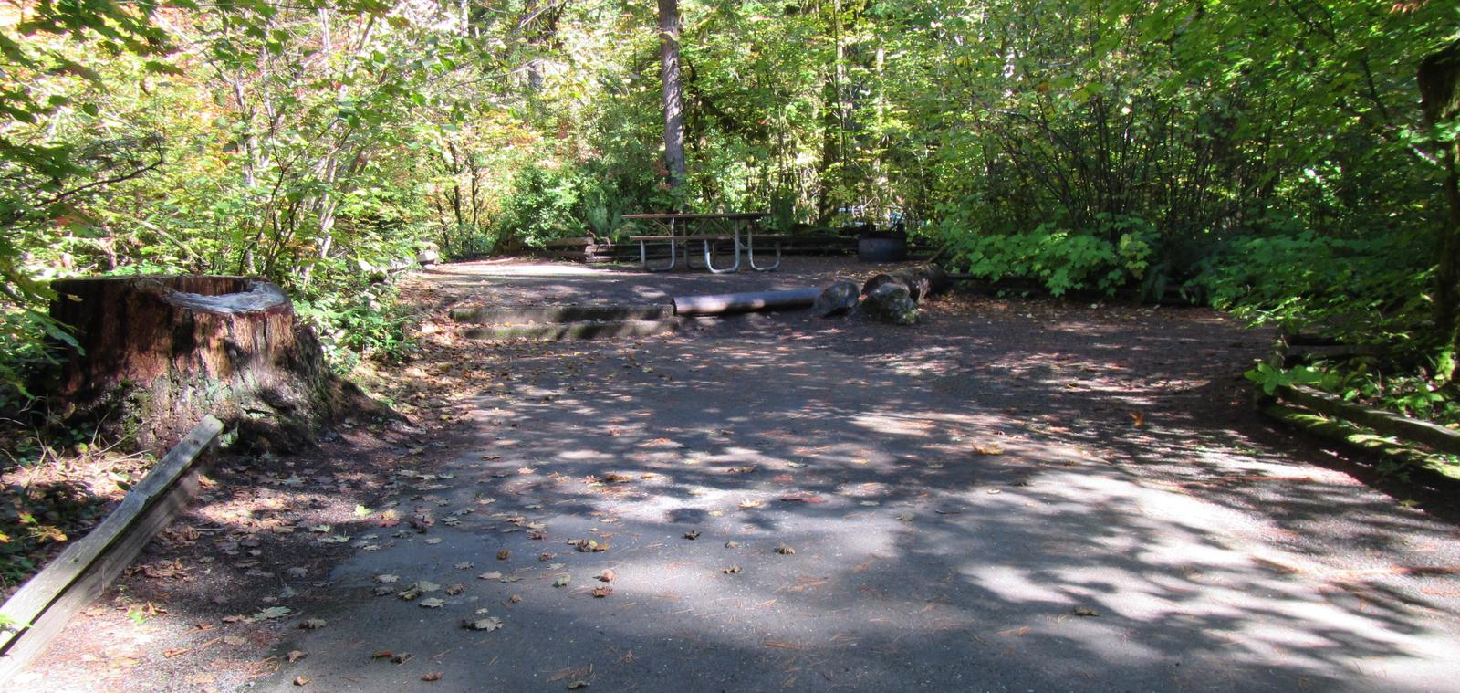 Whole camp site with steps up to camping area, parking spur measures 41'X12'