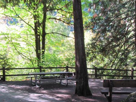 Large camp site with views of the river, sitting bench, picnic table and fire ring site 30