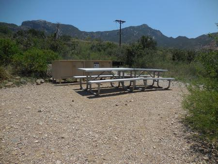 Picnic tables, bear boxes, and grill with mountains in the backgroundPicnic tables, bear boxes, and grill