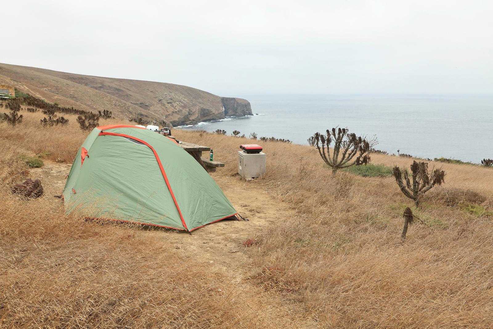 Tent sitting in dried grass on a ocean bluff overlooking the coastline.Campground, Santa Barbara Island