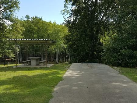 A photo of Site 28 of Loop MAGNOLIA RIDGE  at MAGNOLIA RIDGE with Picnic Table, Fire Pit, Shade, Lantern Pole