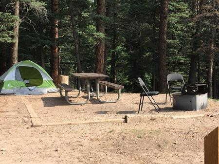A sample photo of a tent campsite at La Vista Campground