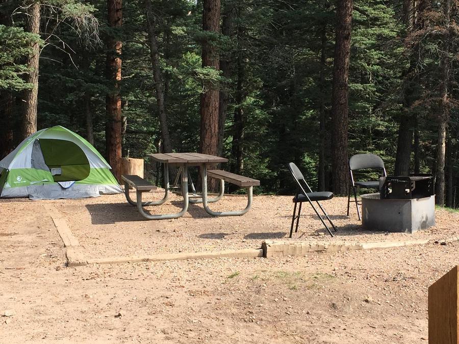 A sample photo of a tent campsite at La Vista Campground
