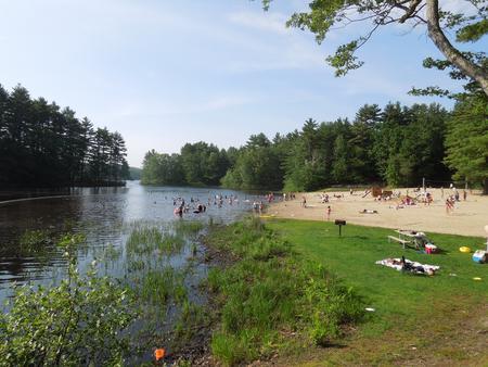 visitors enjoying the beachswim beach