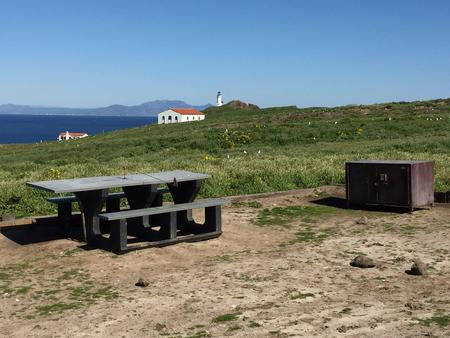 Picnic table and metal food storage box on terrace overlooking ocean, two buildings and lighthouse.
