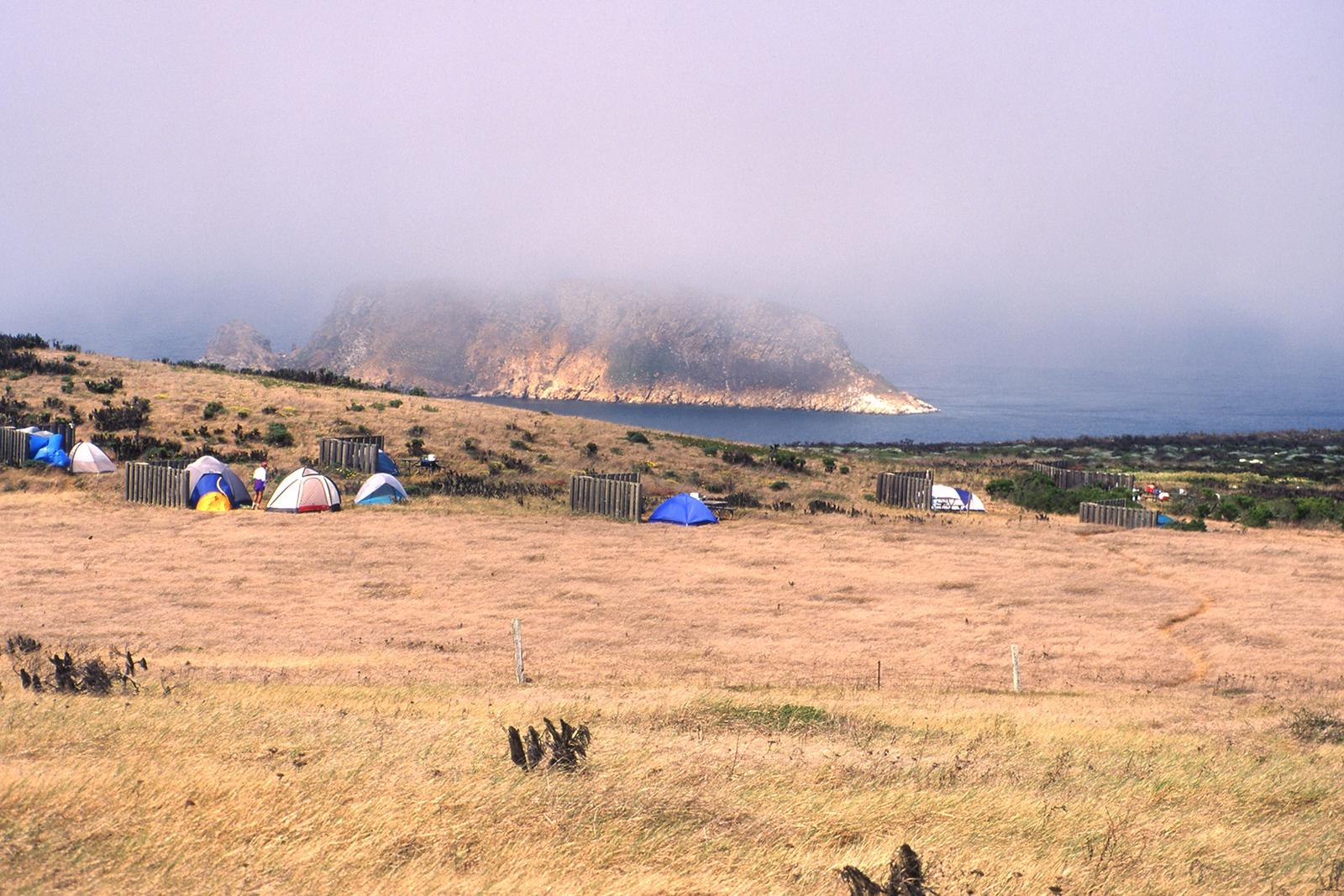 Tents and 5-foot tall windbreaks perches on an ocean bluff overlooking an islet covered in fog.Campground, San Miguel Island