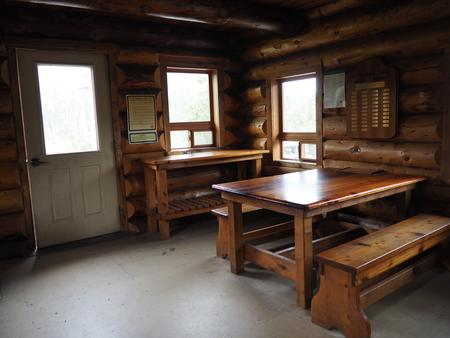 MIDDLE RIDGE CABIN INTERIORWrangell High School students built much of the furniture inside Middle Ridge Cabin.