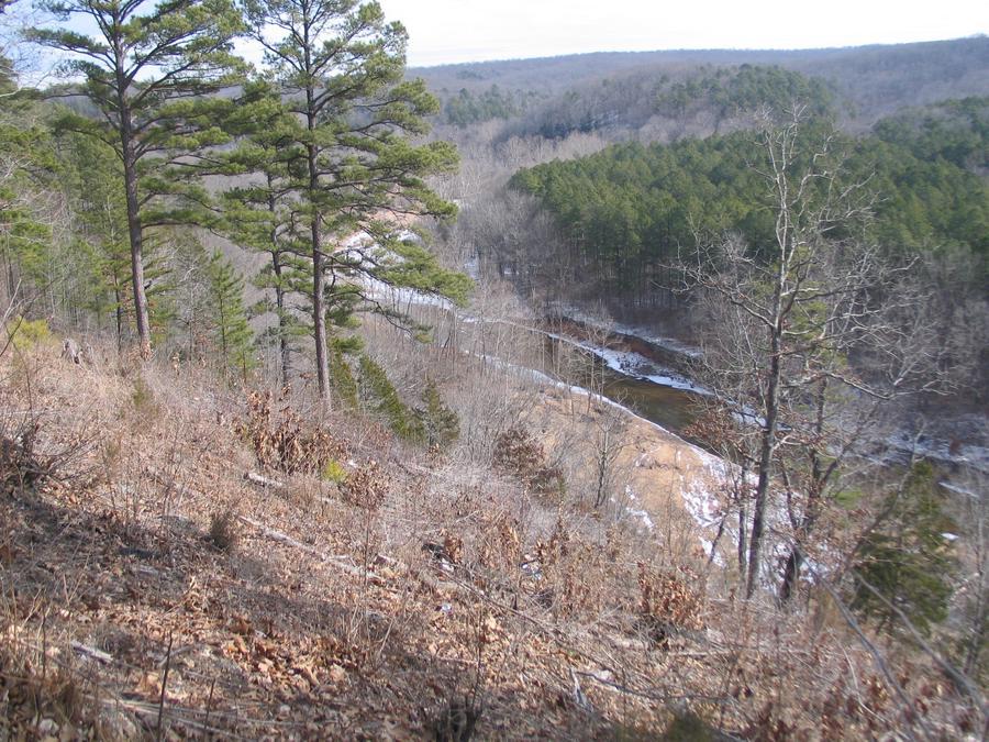 Landscape view from Pines OverlookOverlooking Huzzah Creek from Pines Overlook Camping Loop