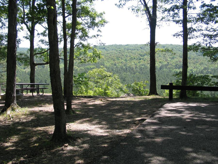 Pines Overlook campsite overlooking Huzzah CreekCampsites with great views in the Pines Overlook Loop
