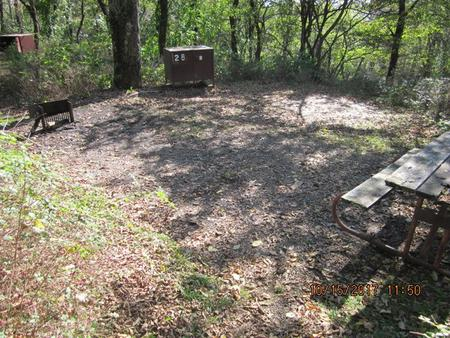 Loft Mountain Campground - Site 28Picnic table, food storage locker, and fire pit on campsite