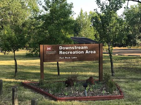 Entrance to the Downstream CampgroundSign welcoming you to the Downstream Campground.