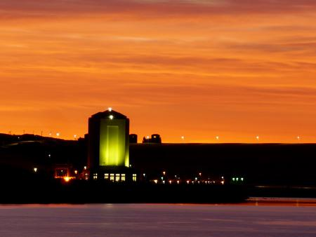 Sunrise over the Missouri RiverSunrise over the Power Houses and the Missouri River.