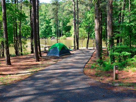 Driveway slope, awning-side clearance.Payne Campground, campsite 52.