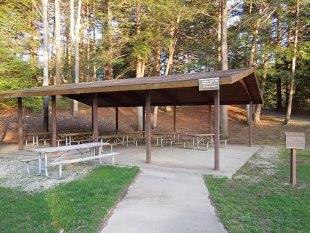 Buffumville Lake Park Shelter site 001, 10 tables, 2 large grills, electricity