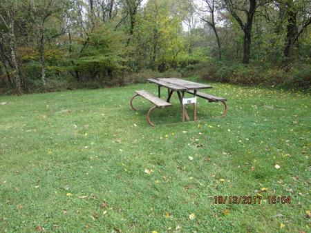 Loft Mountain Campground - Site 45Picnic table and fire pit on campsite