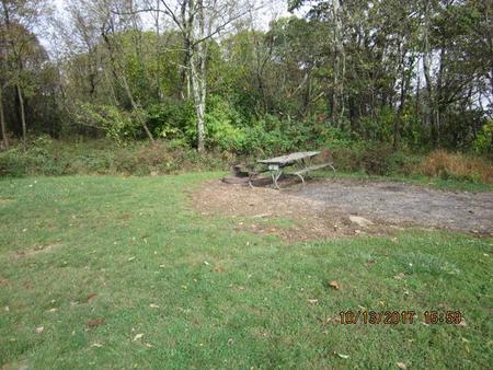 Loft Mountain Campground - Site 50Picnic table and fire pit on campsite