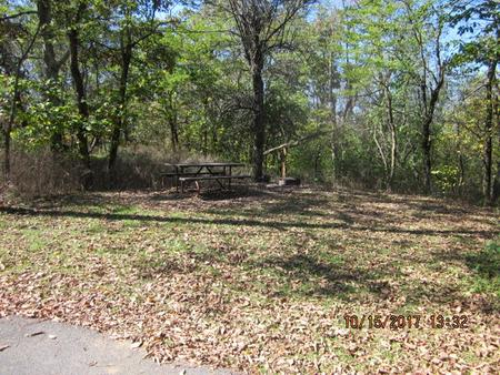 Loft Mountain Campground - Site A51Picnic table and fire pit on campsite