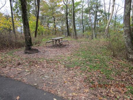 Loft Mountain Campground - Site A57Picnic table and fire pit on campsite