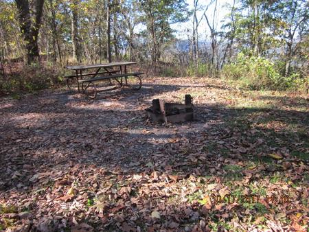 Loft Mountain Campground - Site A58Picnic table and fire pit on campsite