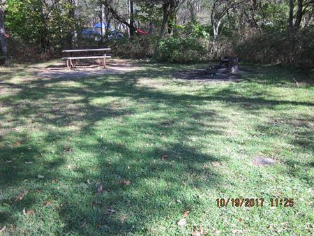 Loft Mountain Campground Site A73Picnic table and fire pit on campsite
